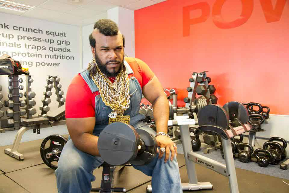 Mr T Lookalike Fitness Superstore corporate day hire Northampton London Milton Keynes UK Gym advert ideas 80s event