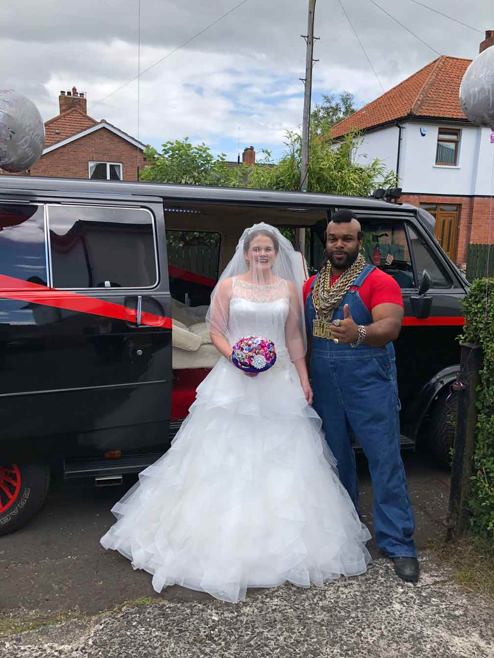 Mr T Lookalike coperate 80s event ideas birthday ideas video message from Mr T Trolly service celebrity parties and 80s events gym adverts public appearances weddings wedding